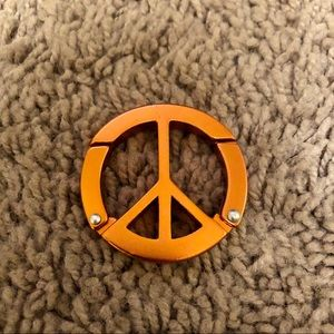 Peace sign carabiner clip